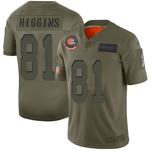 Browns #81 Rashard Higgins Camo Men's Stitched Football Limited 2019 Salute To Service Jersey