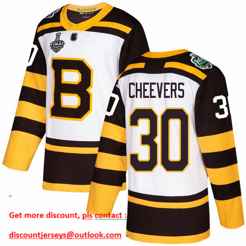 Bruins #30 Gerry Cheevers White Authentic 2019 Winter Classic Stanley Cup Final Bound Stitched Hockey Jersey