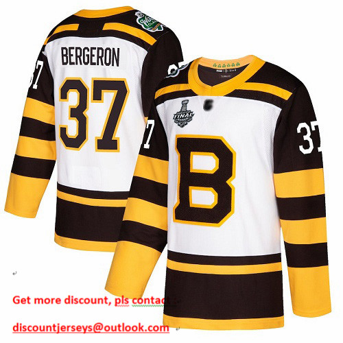 Bruins #37 Patrice Bergeron White Authentic 2019 Winter Classic Stanley Cup Final Bound Stitched Hockey Jersey