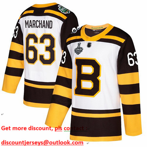 Bruins #63 Brad Marchand White Authentic 2019 Winter Classic Stanley Cup Final Bound Stitched Hockey Jersey