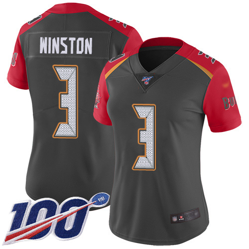 Buccaneers #3 Jameis Winston Gray Women's Stitched Football Limited Inverted Legend 100th Season Jersey