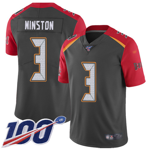 Buccaneers #3 Jameis Winston Gray Youth Stitched Football Limited Inverted Legend 100th Season Jersey