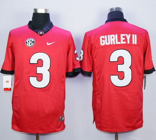 ea38393fb39 Bulldogs #3 Todd Gurley Red SEC Patch Stitched NCAA Jersey