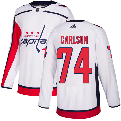 Capitals #74 John Carlson White Road Authentic Stitched Hockey Jersey