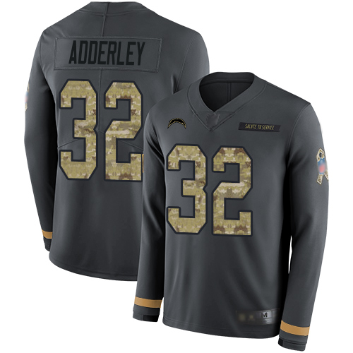 Chargers #32 Nasir Adderley Anthracite Salute to Service Men's Stitched Football Limited Therma Long Sleeve Jersey
