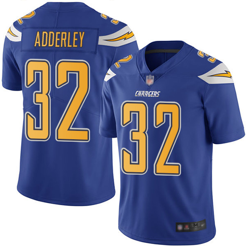 Chargers #32 Nasir Adderley Electric Blue Men's Stitched Football Limited Rush Jersey