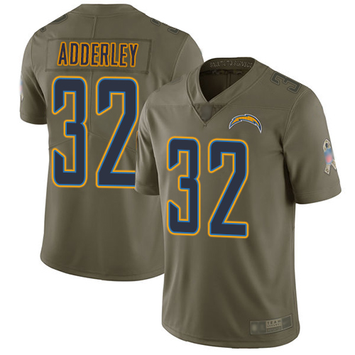 Chargers #32 Nasir Adderley Olive Men's Stitched Football Limited 2017 Salute To Service Jersey