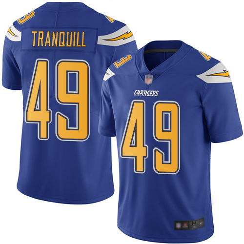 Chargers #49 Drue Tranquill Electric Blue Men's Stitched Football Limited Rush Jersey