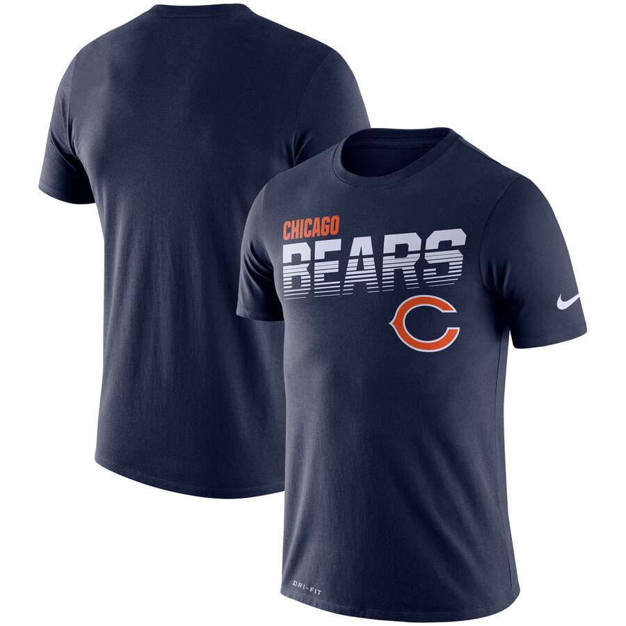 Chicago Bears Nike Sideline Line Of Scrimmage Legend Performance T-Shirt Navy