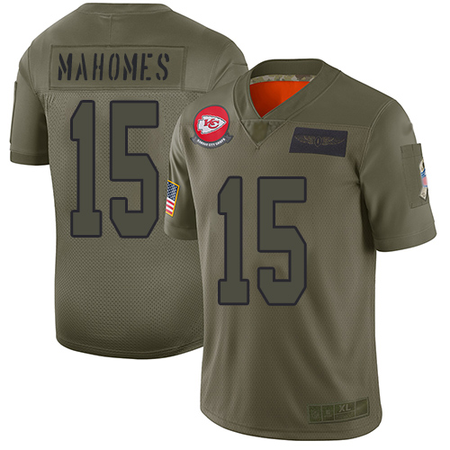 Chiefs #15 Patrick Mahomes Camo Men's Stitched Football Limited 2019 Salute To Service Jersey