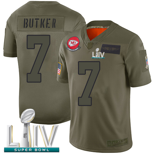 Chiefs #7 Harrison Butker Camo Super Bowl LIV Bound Men's Stitched Football Limited 2019 Salute To Service Jersey