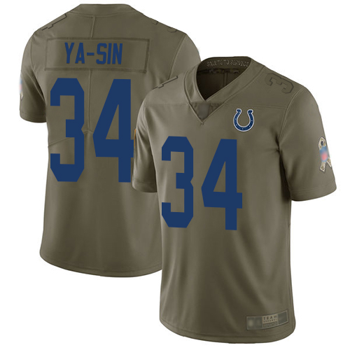 Colts #34 Rock Ya-Sin Olive Men's Stitched Football Limited 2017 Salute To Service Jersey