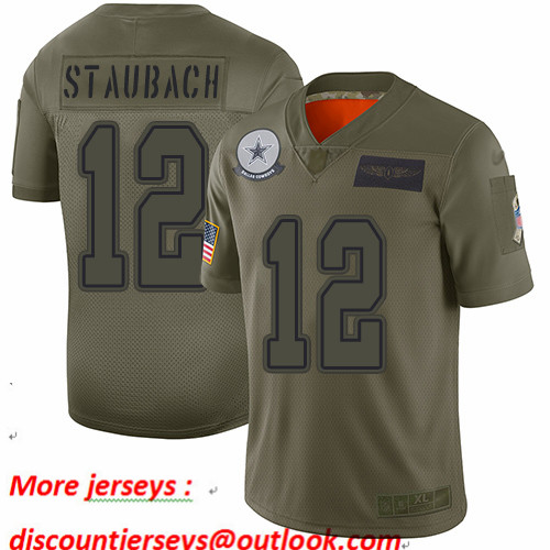 Cowboys #12 Roger Staubach Camo Youth Stitched Football Limited 2019 Salute to Service Jersey