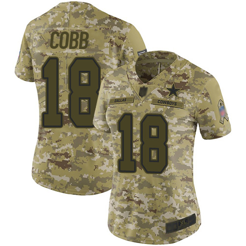 Cowboys #18 Randall Cobb Camo Women's Stitched Football Limited 2018 Salute to Service Jersey