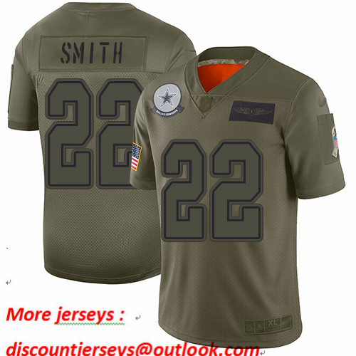 Cowboys #22 Emmitt Smith Camo Youth Stitched Football Limited 2019 Salute to Service Jersey