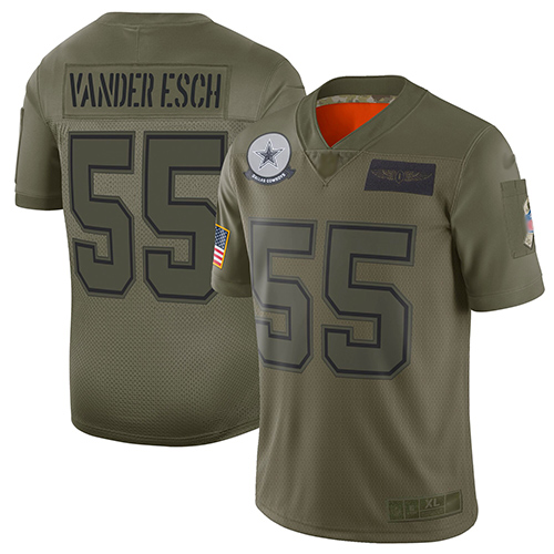 Cowboys #55 Leighton Vander Esch Camo Men's Stitched Football Limited 2019 Salute To Service Jersey