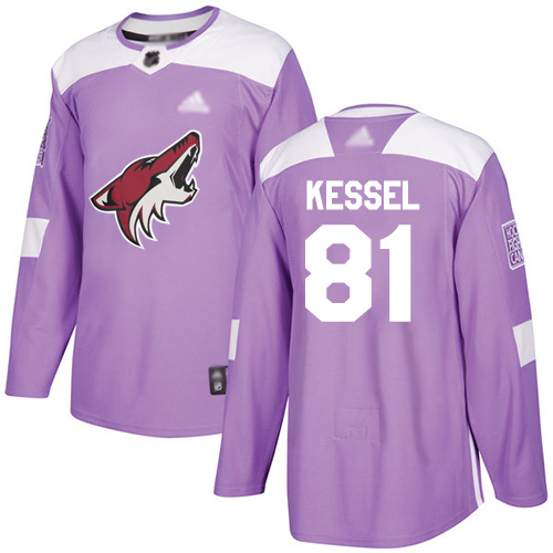 Coyotes #81 Phil Kessel Purple Authentic Fights Cancer Stitched Youth Hockey Jersey