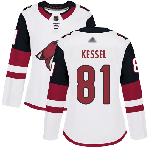 Coyotes #81 Phil Kessel White Road Authentic Women's Stitched Hockey Jersey