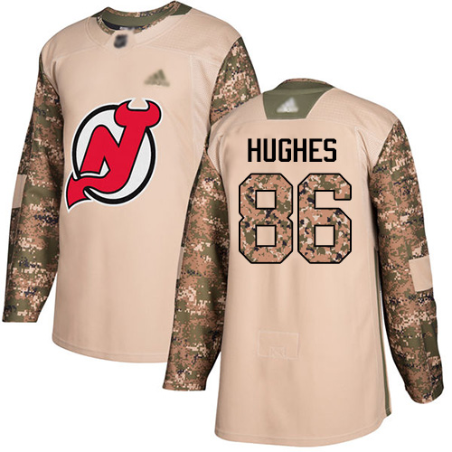 Devils #86 Jack Hughes Camo Authentic 2017 Veterans Day Stitched Hockey Jersey
