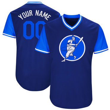 Dodgers Blue Men's Customized Throwback New Design Jersey