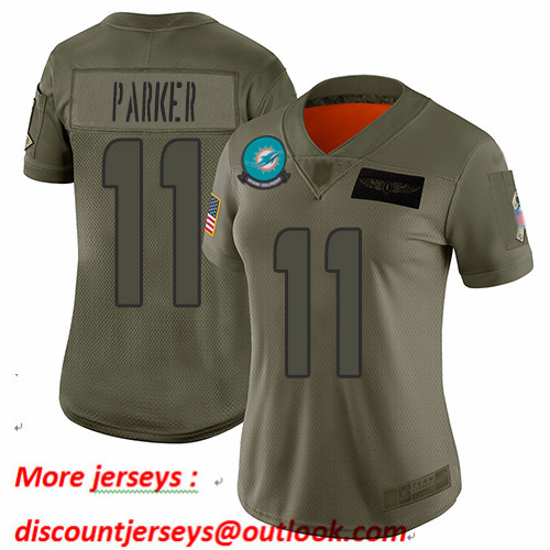 Dolphins #11 DeVante Parker Camo Women's Stitched Football Limited 2019 Salute to Service Jersey