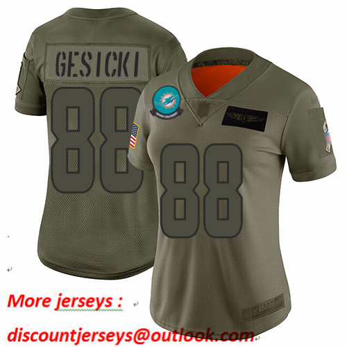 Dolphins #88 Mike Gesicki Camo Women's Stitched Football Limited 2019 Salute to Service Jersey