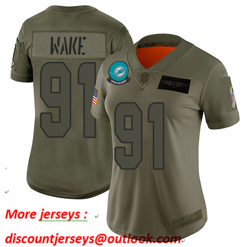 Dolphins #91 Cameron Wake Camo Women's Stitched Football Limited 2019 Salute to Service Jersey