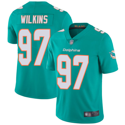 Dolphins #97 Christian Wilkins Aqua Green Team Color Men's Stitched Football Vapor Untouchable Limited Jersey