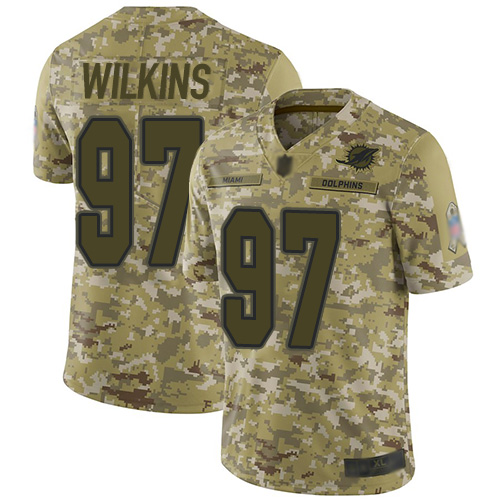 Dolphins #97 Christian Wilkins Camo Men's Stitched Football Limited 2018 Salute To Service Jersey