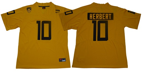 Ducks #10 Justin Herbert Yellow Limited Stitched NCAA Jersey