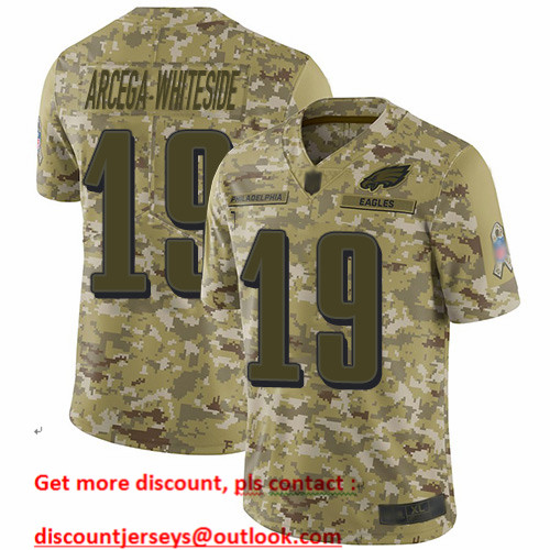Eagles #19 JJ Arcega-Whiteside Camo Men's Stitched Football Limited 2018 Salute To Service Jersey