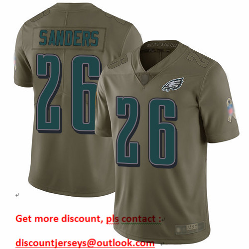 Eagles #26 Miles Sanders Olive Men's Stitched Football Limited 2017 Salute To Service Jersey
