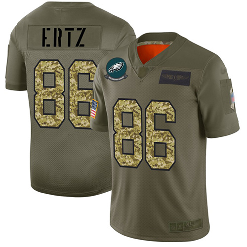 Eagles #86 Zach Ertz Olive Camo Men's Stitched Football Limited 2019 Salute To Service Jersey