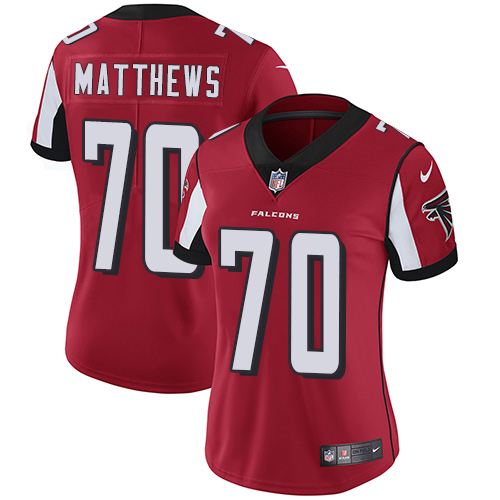 Falcons #70 Jake Matthews Red Team Color Women's Stitched Football Vapor Untouchable Limited Jersey
