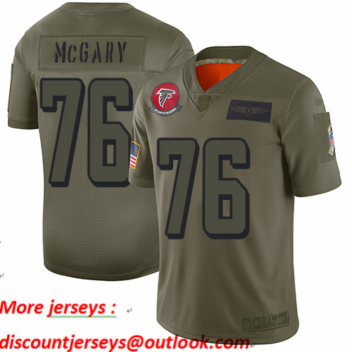 Falcons #76 Kaleb McGary Camo Youth Stitched Football Limited 2019 Salute to Service Jersey