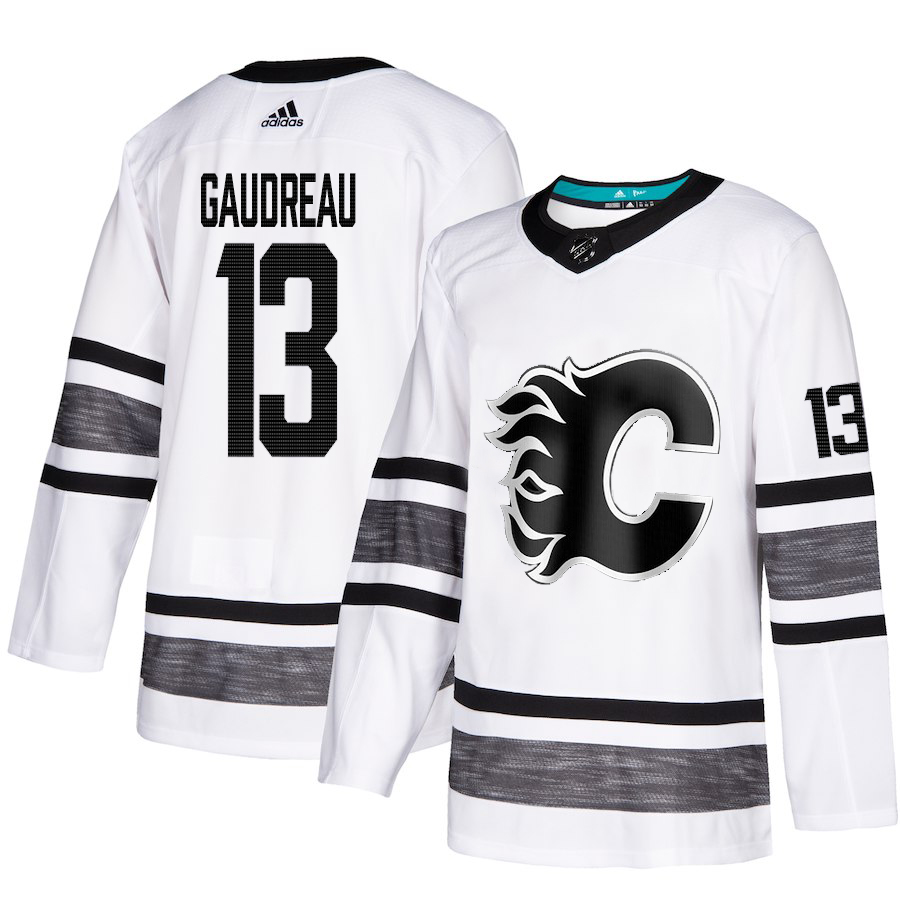 Flames #13 Johnny Gaudreau White Authentic 2019 All-Star Stitched Hockey Jersey