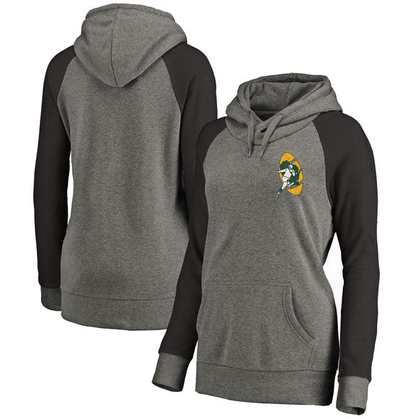 Green Bay Packers NFL Pro Line By Fanatics Branded Women's Plus Sizes Vintage Lounge Pullover Hoodie Heathered Gray