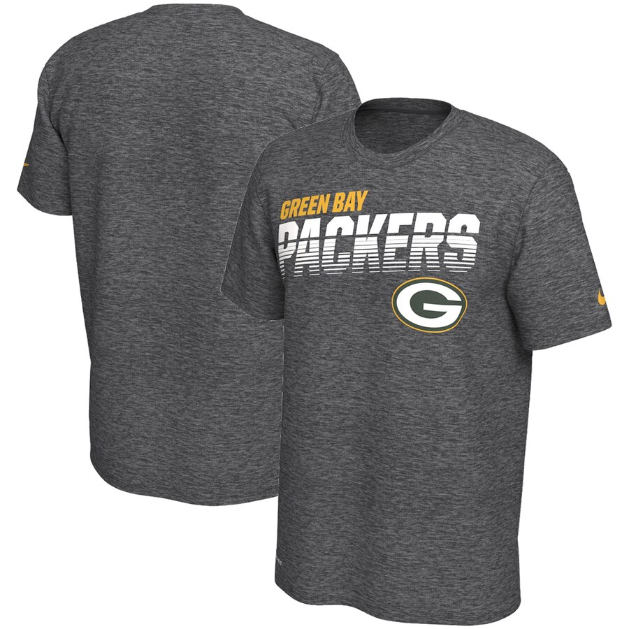 Green Bay Packers Nike Sideline Line Of Scrimmage Legend Performance T-Shirt Heathered Gray