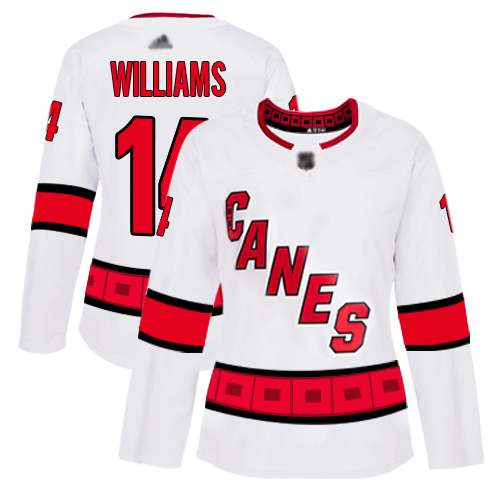 Hurricanes #14 Justin Williams White Road Authentic Women's Stitched Hockey Jersey