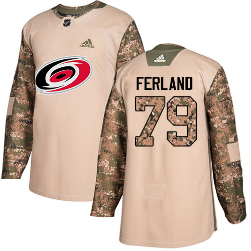 Hurricanes #79 Michael Ferland Camo Authentic 2017 Veterans Day Stitched Hockey Jersey