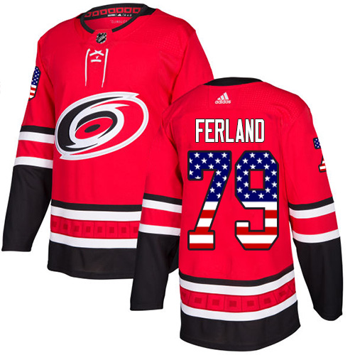 Hurricanes #79 Michael Ferland Red Home Authentic USA Flag Stitched Hockey Jersey