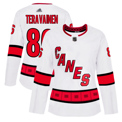 Hurricanes #86 Teuvo Teravainen White Road Authentic Women's Stitched Hockey Jersey