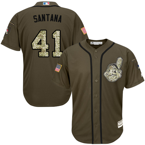 Indians #41 Carlos Santana Green Salute to Service Stitched Youth Baseball Jersey