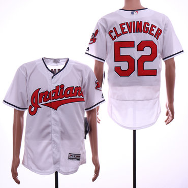 b21576285 ... Cooperstown Collection Cool Base Jersey   20. Indians 52 Mike Clevinger  White Flexbase Jersey