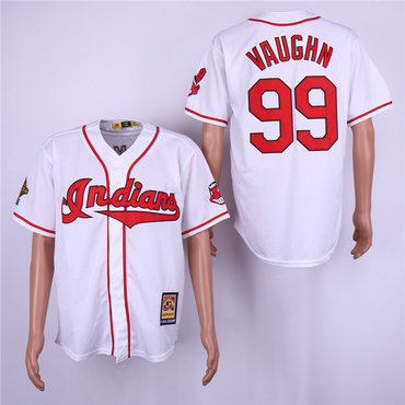d009970e9 Indians 99 Ricky Vaughn White Cooperstown Collection Jersey