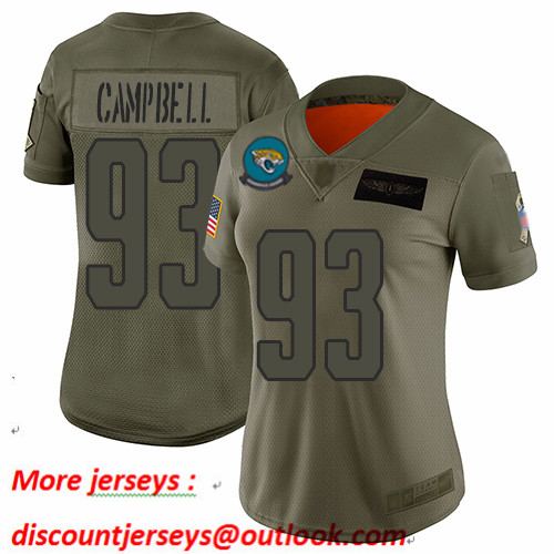 Jaguars #93 Calais Campbell Camo Women's Stitched Football Limited 2019 Salute to Service Jersey