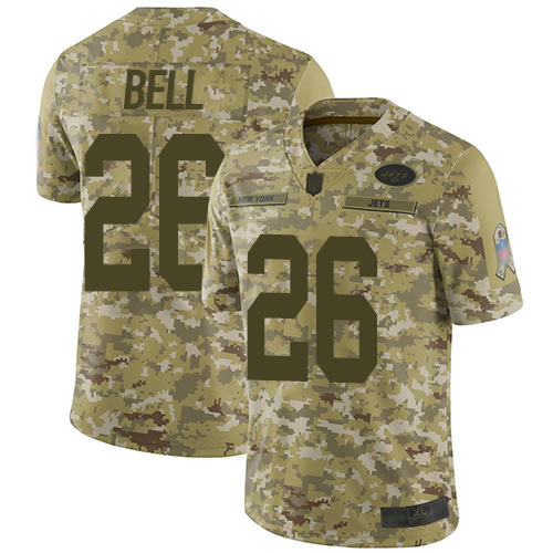 Jets #26 Le'Veon Bell Camo Men's Stitched Football Limited 2018 Salute To Service Jersey