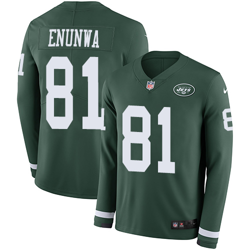 Jets #81 Quincy Enunwa Green Team Color Men's Stitched Football Limited Therma Long Sleeve Jersey