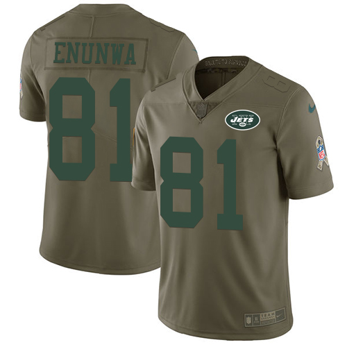 Jets #81 Quincy Enunwa Olive Men's Stitched Football Limited 2017 Salute To Service Jersey