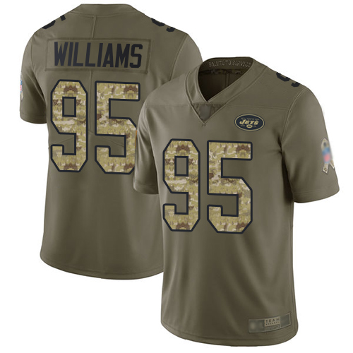 Jets #95 Quinnen Williams Olive Camo Youth Stitched Football Limited 2017 Salute to Service Jersey